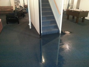 Water at bottom of stairs Sterling Heights