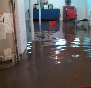 Broken hot water heater flooded basement