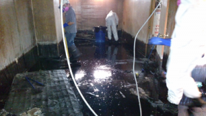 Flooded basement restoration from a sewer backup